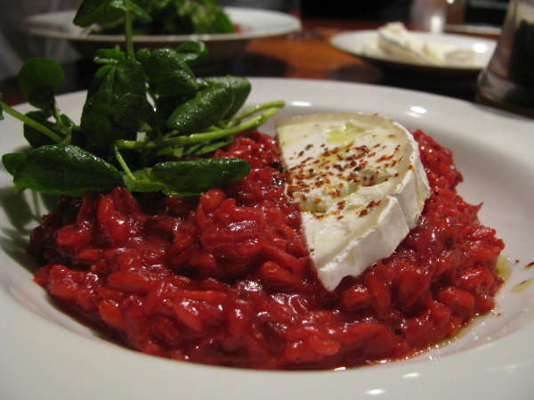 Beetroot & chilli risotto with goat's cheese