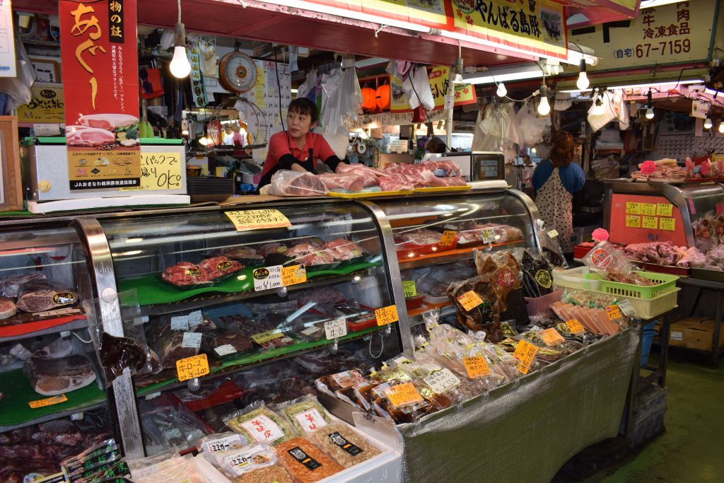 A butcher's stall at Makishi Market Naha